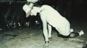 Julie Moss crawls across the 1982 Ironman Finish Line