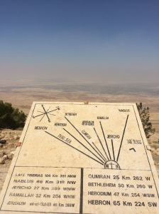 Plaque describing view at Mount Nebo.